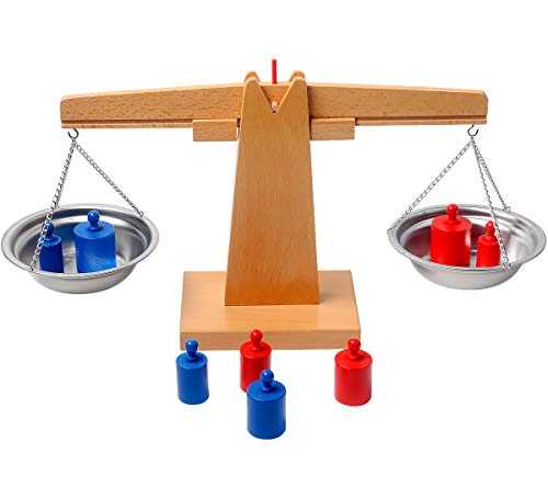 balanza de juguete de madera pesa colores azul rojo