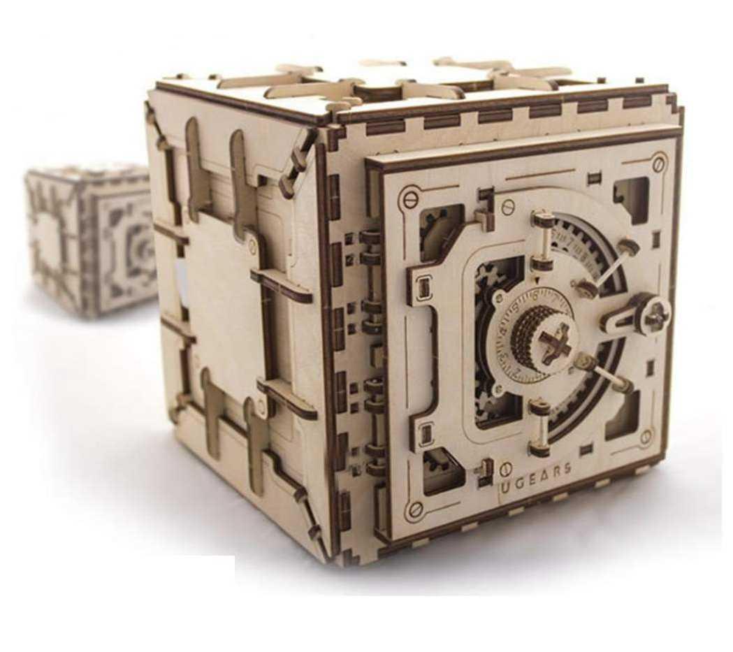 caja fuerte mecanismo madera educativo puzzle