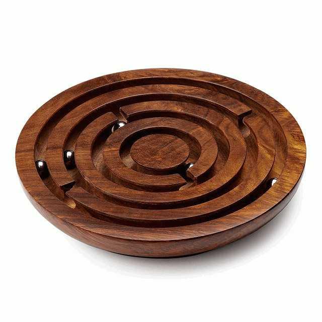 laberinto de juguete de madera bolitas circular canales