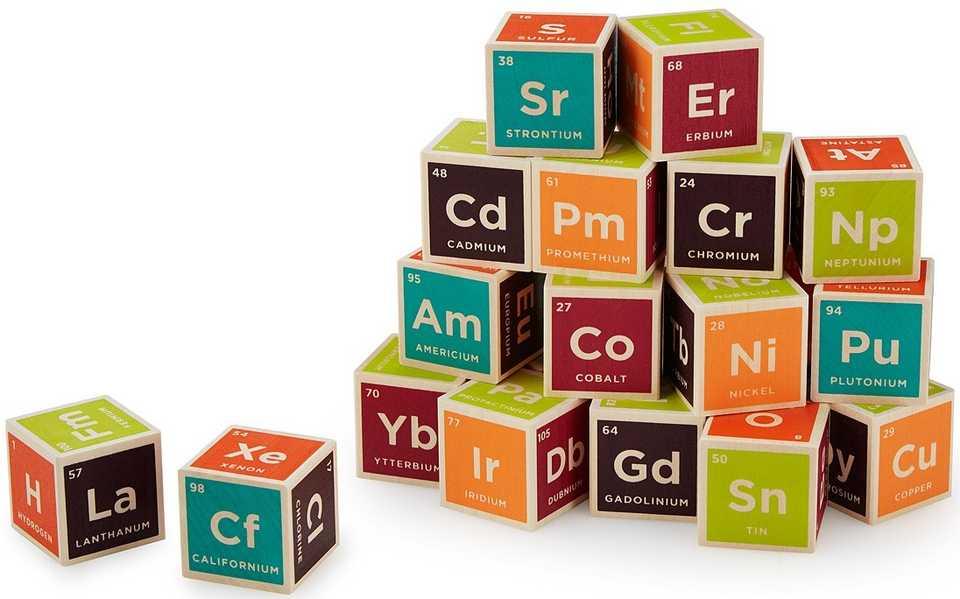 tabla periodica quimica cubos de madera