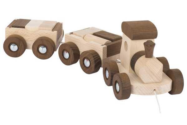 trencito de madera dos tonos ruedas cordel