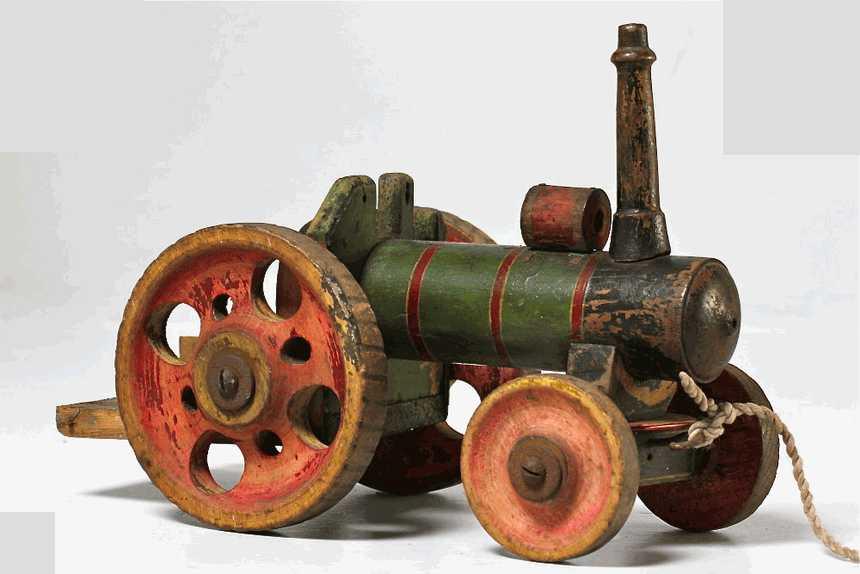 vintage locomotora de juguete madera pintada envejecido