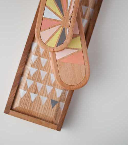caja madera pintada decorada