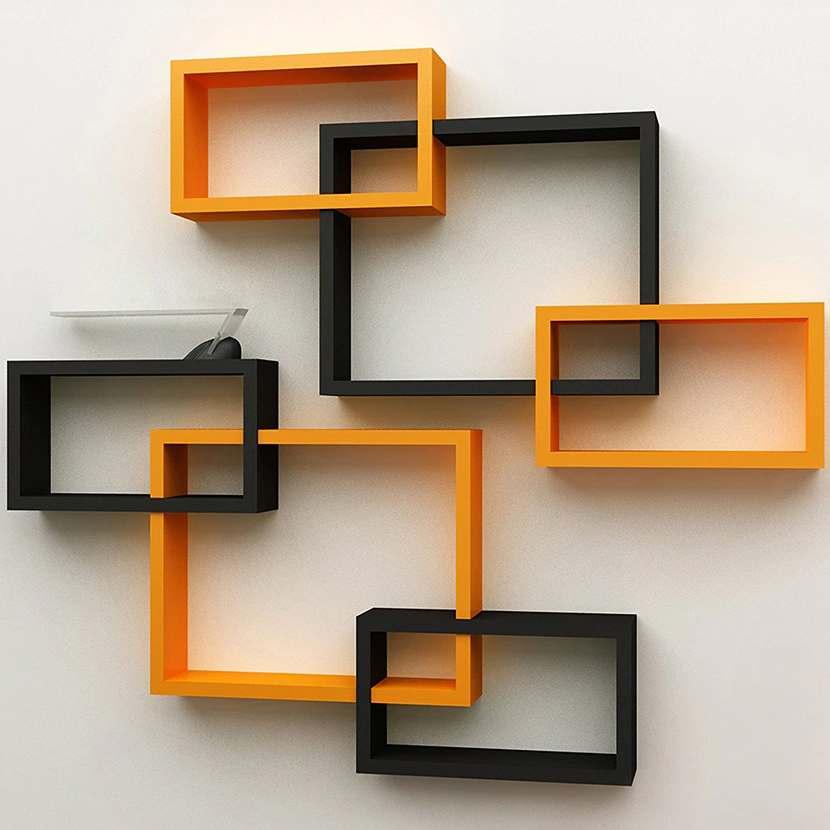 montaje de repisas flotantes pared cuadrados intersectados