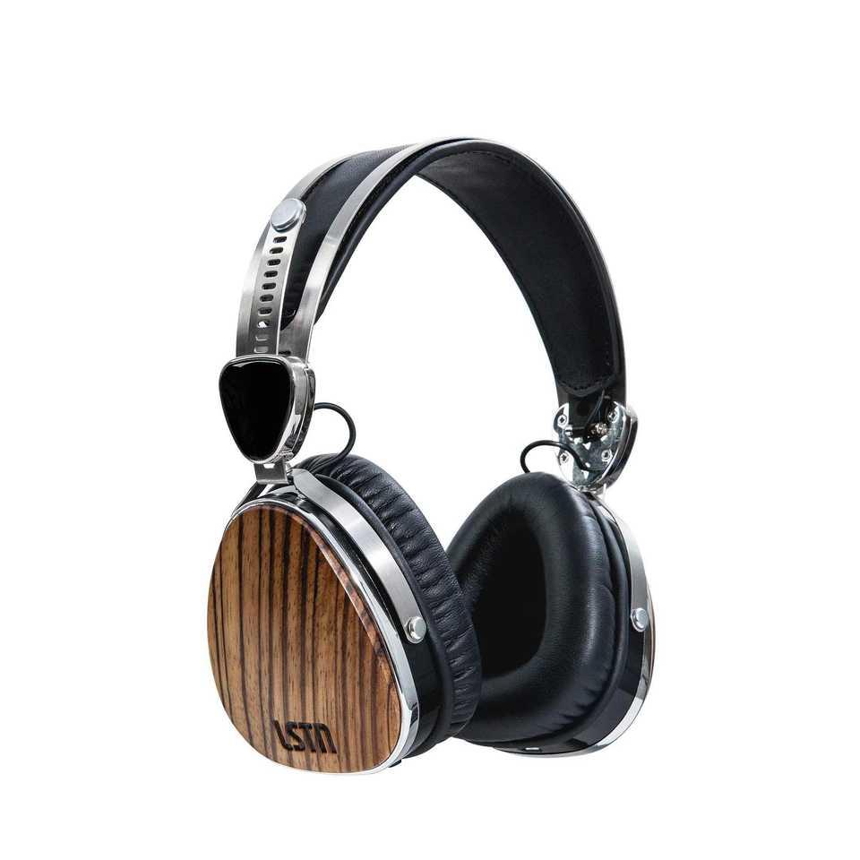 auriculares tipo aviador de madera y cuero