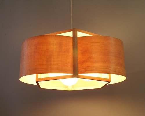 circular lampara colgante con chapa de madera