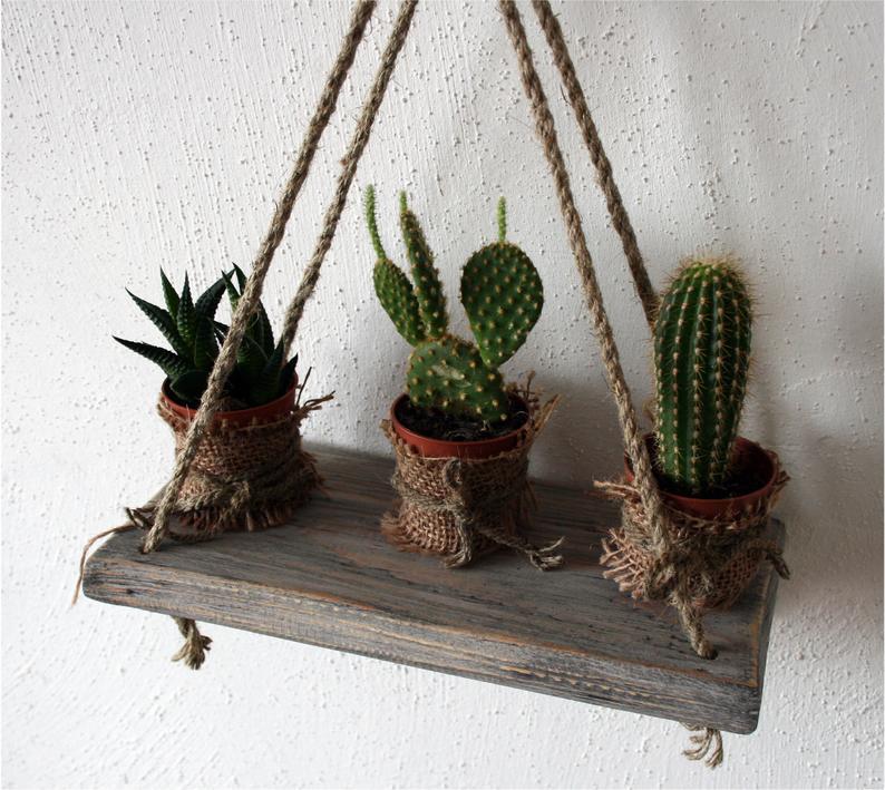 colgante jardin madera tabla estante