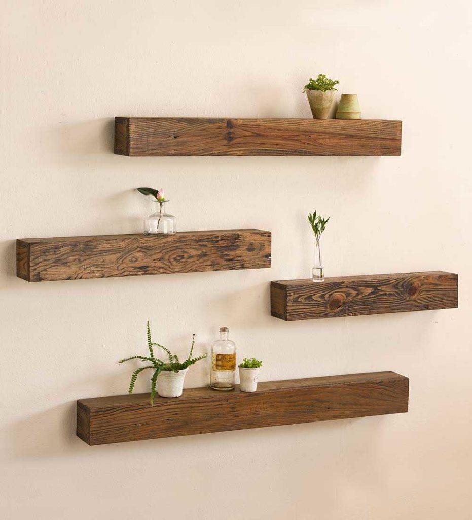 elementos decorativos estante decoracion madera pared