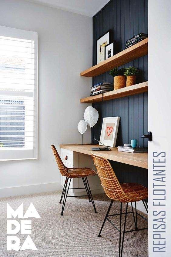 estantes flotantes y escritorio de pared para oficina en casa