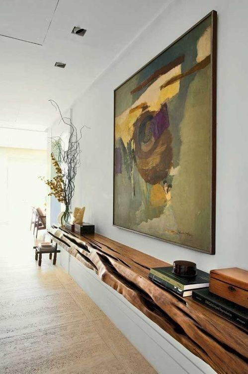 hermosa y artistica repisa decorativa para la entrada en madera rustica una sola pieza