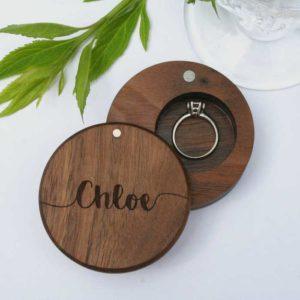 joyero anillo compromiso madera nogal