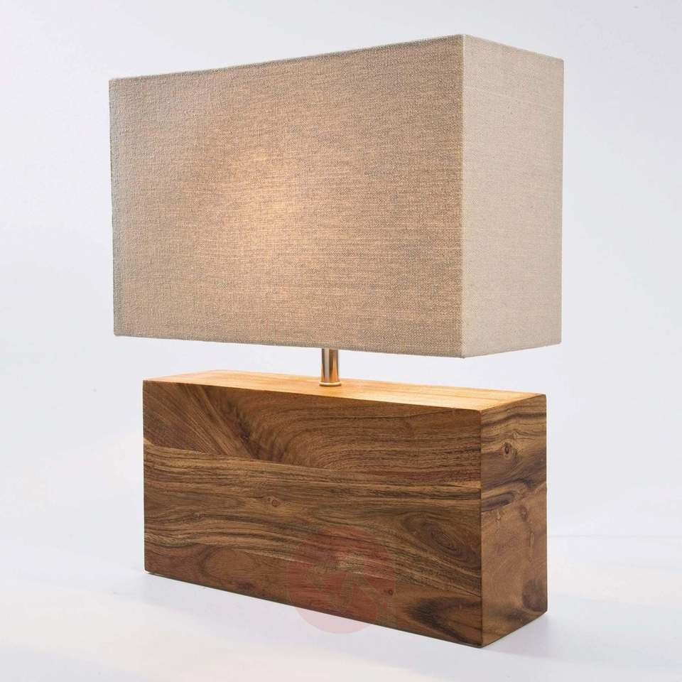 lampara base rectangular madera