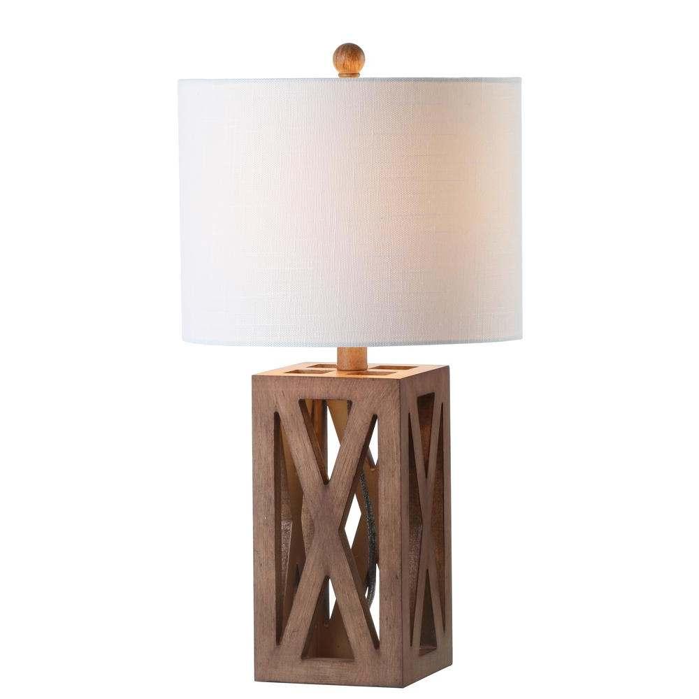 lampara clasica de madera con pantalla circular