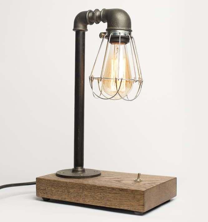 lampara de escritorio estilo industrial madera tuberia metal