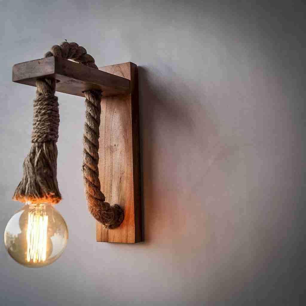 lampara de pared con soga bombilla vintage