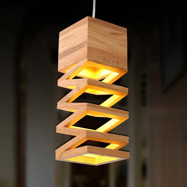 lampara nordica minimalista madera colgante sala