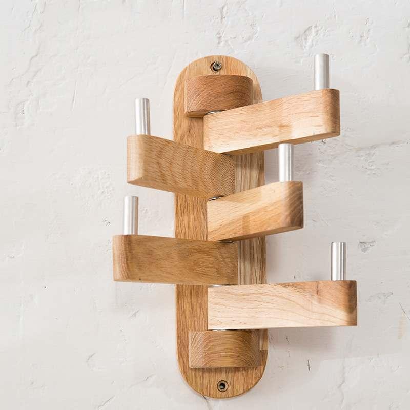 perchero de madera ajustable ganchos rotativo 1