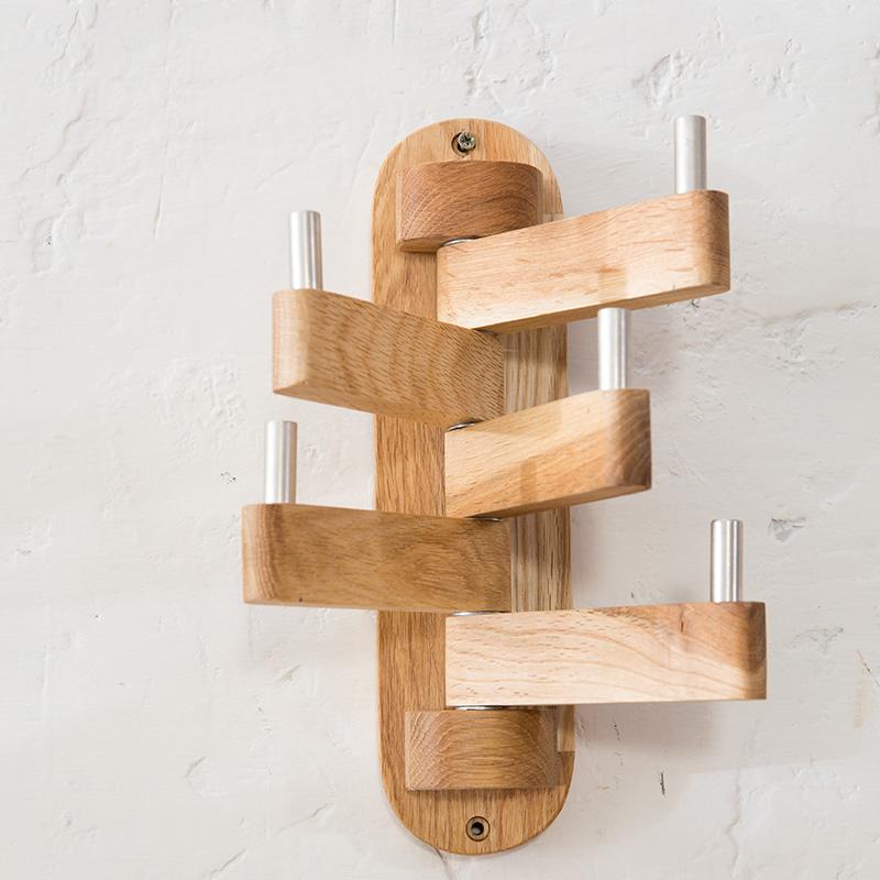 perchero de madera ajustable ganchos rotativo