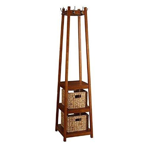perchero de madera oscura con cestas funcional decorativo