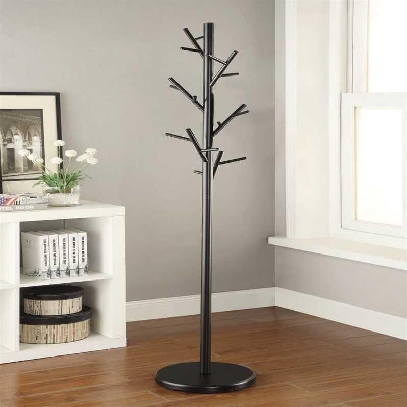 perchero de pie de madera pulida caoba ramas