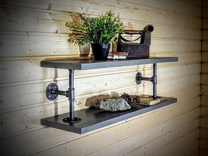repisa combinacion materiales metal tubos madera