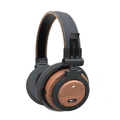 sobreaurales grandes audifonos madera plastico cuero