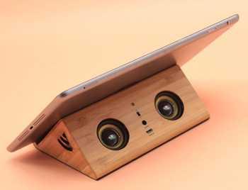 base de madera ipad tablet altavoces