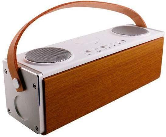 beatbox parlante madera cuero metal marron blanco