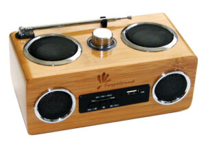 parlante radio de madera dispositivo audio
