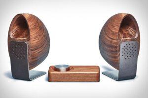 parlantes de madera metal acustico diseno inalambrico