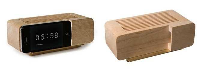 radio reloj madera musica audio tallado