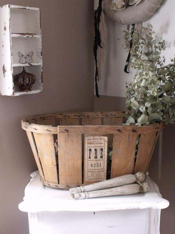 canasta campestre estilo granja madera