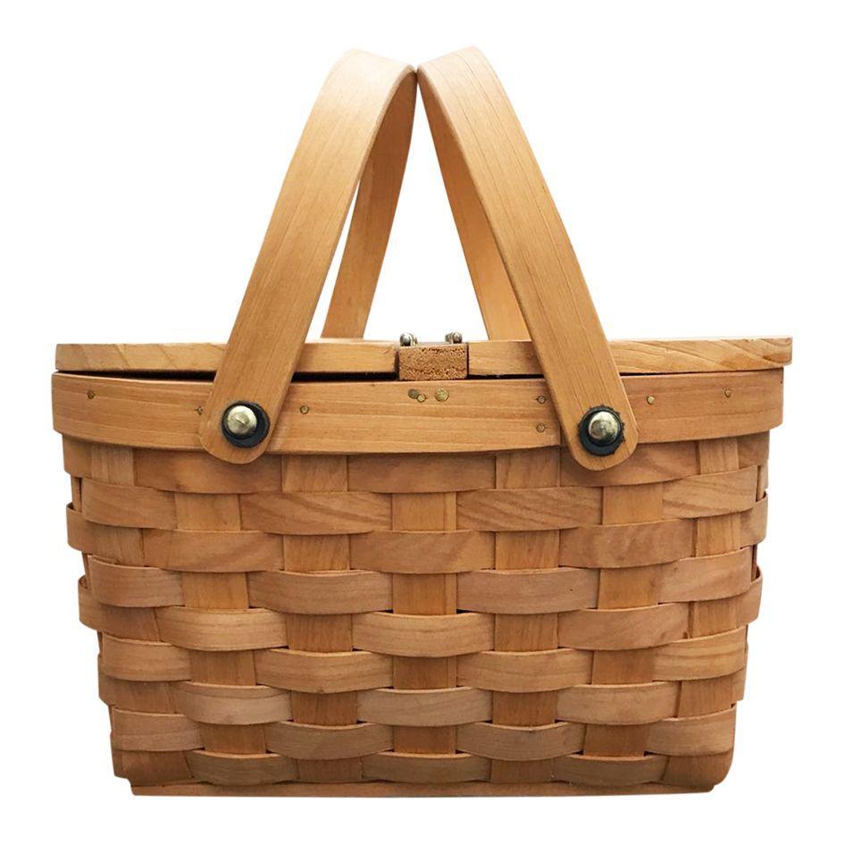 clasica canasta de picnic madera color cerezo