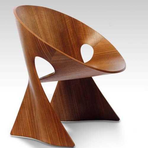 geometrica redonda silla madera nogal barniz oscuro marron