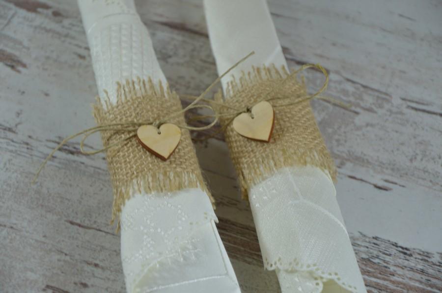 servilleteros estilo rustico para bodas con madera y tela
