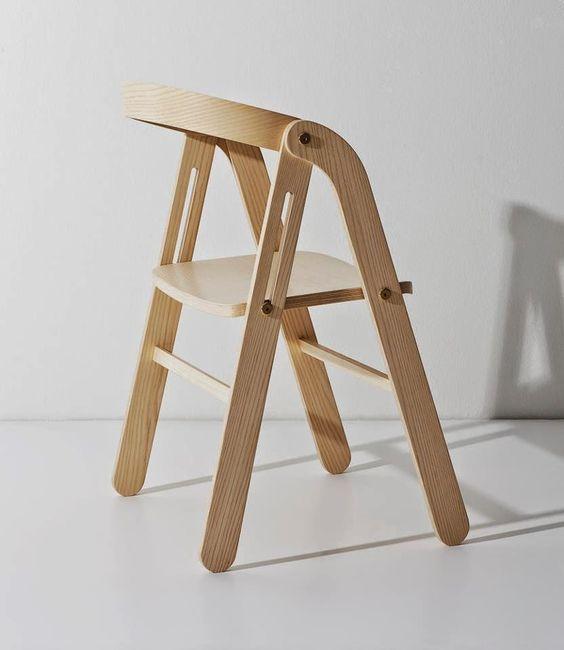 silla plegable de madera formas simples