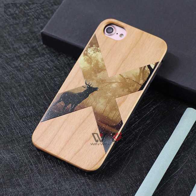 funda para iphone x de madera con grabado a color