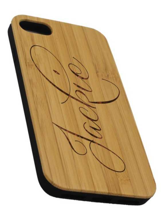 funda para movil con nombre grabado en madera