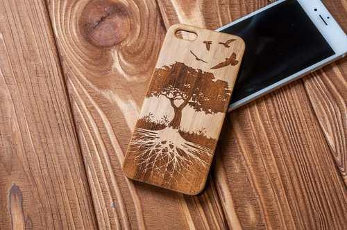 funda protectora para moviles material madera con diseno ecologico