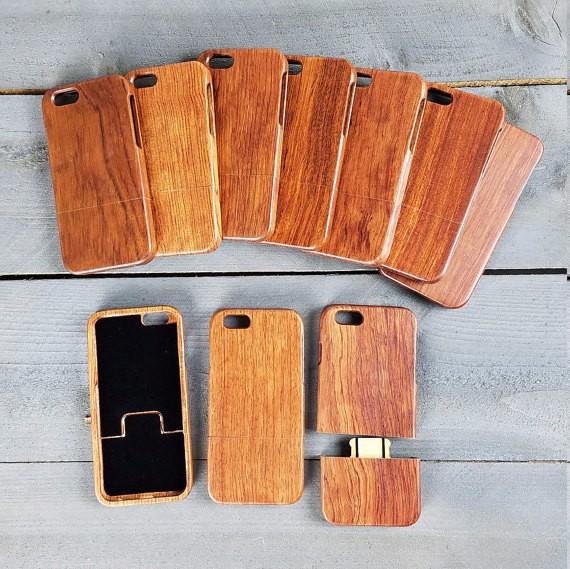 multiples fundas de celular hechas de madera