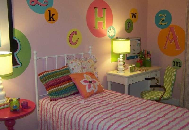 Letras pintadas en la pared para la habitacion de los ninos