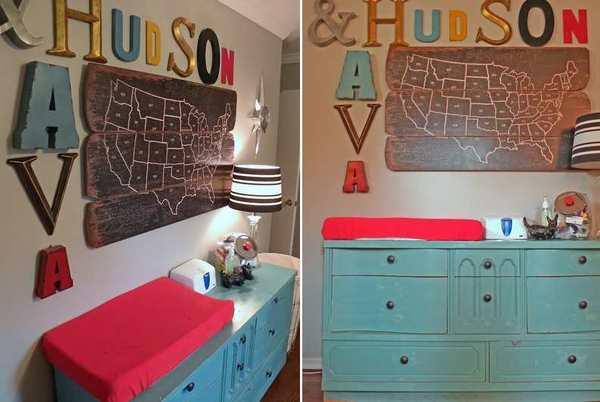 cambiador para la habitacion del bebe con letras del alfabeto