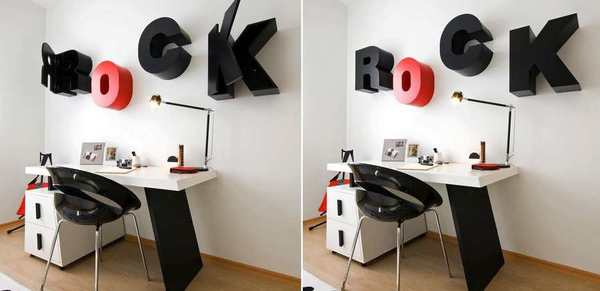 letras de pared como gabinetes de madera