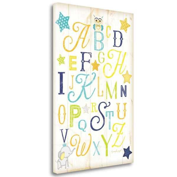 cartel de madera con abecedario