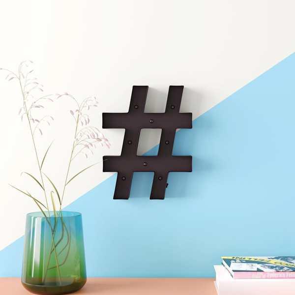 decoracion de paredes con simbolo de hashtag