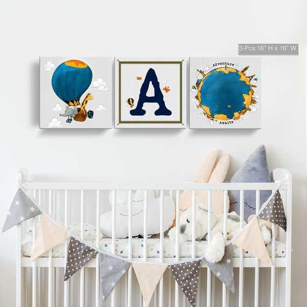 monogramas pared habitacion bebe