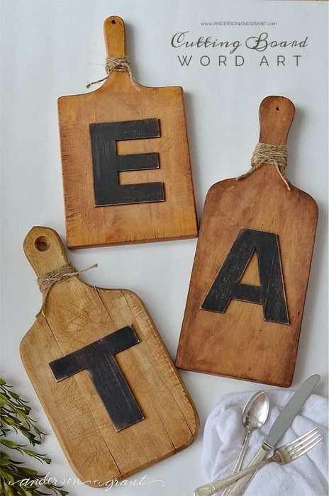 tabla de cortar con letras