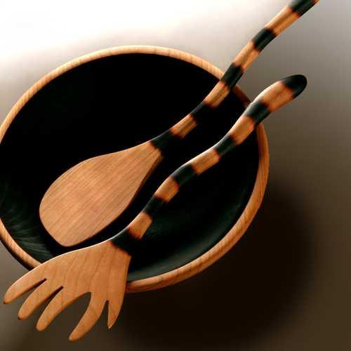 cubiertos forma de gato utensilios madera