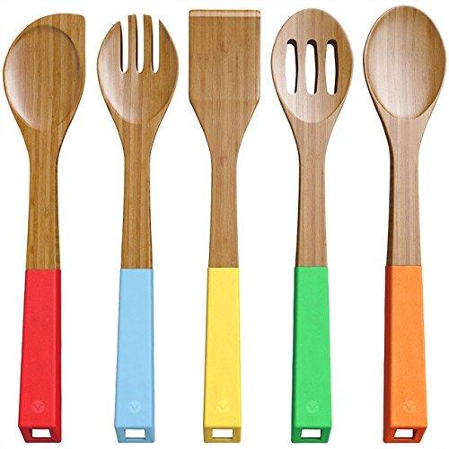 set de utensilios de madera mango colores