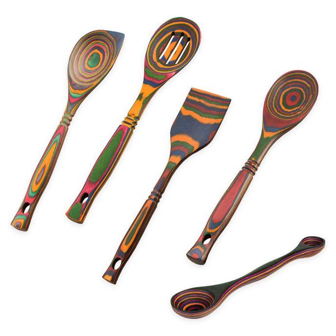utensilios de madera decorados adorno cocina